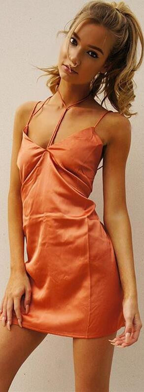 Stitching Backless Wrapped Chest Spaghetti Strap Short Dress - Oh Yours Fashion - 2