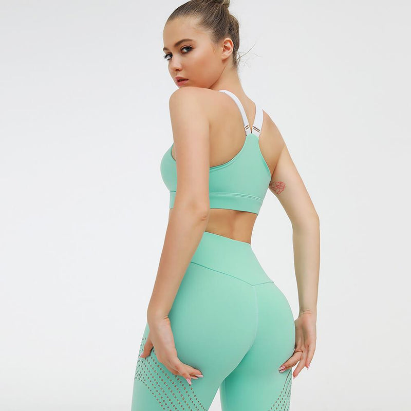 Sports Candy Color Tank Top High Waist Bodycon Skinny Pant Sets