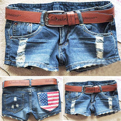 American Flag Print Ripped Hole Club Shorts - Meet Yours Fashion - 1