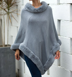 Shawl Pure Color Long Sleeve Sweater