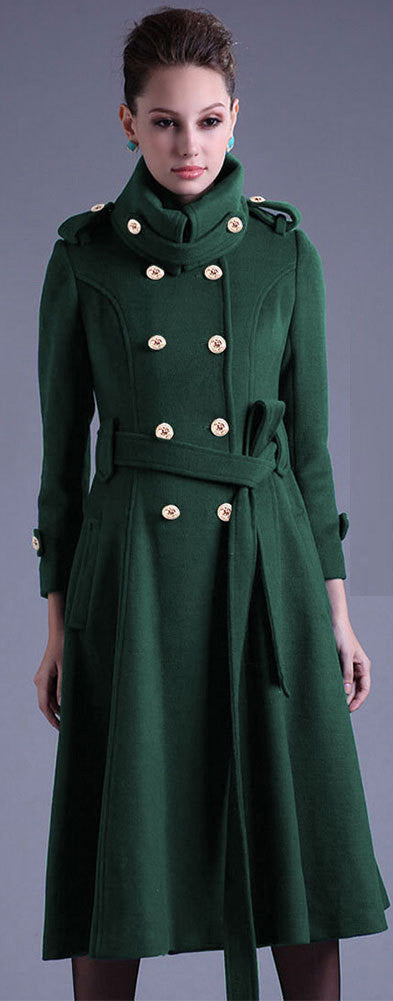 Stand Collar Button Belt Pleated Long Coat - Oh Yours Fashion - 2