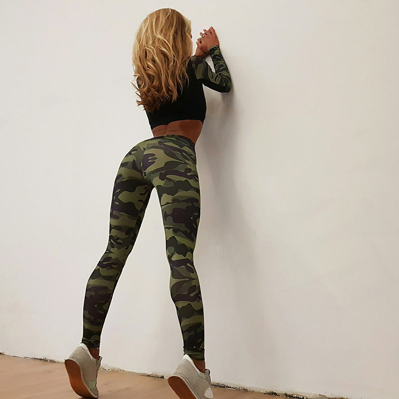 Camouflage Crop Top with Low Waist Leggings Women Two Pieces Yoga Sports Set