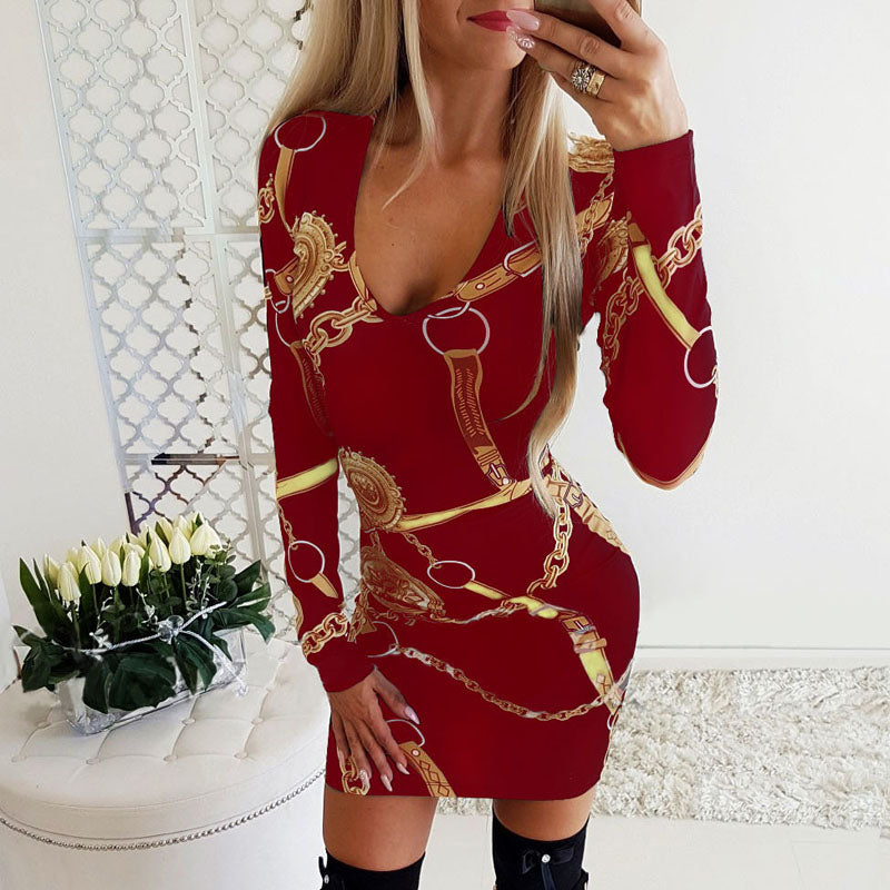 V Neck Long Sleeve Print Bodycon Dress