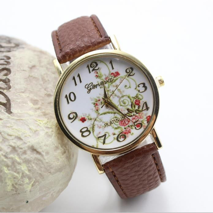 Classic Flower Print Leather Watch - Oh Yours Fashion - 7