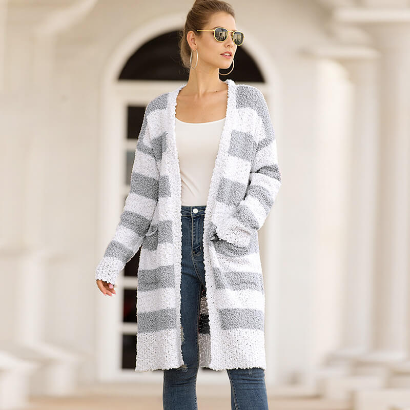 Striped Colorblock Open Front Cardigan Sweater