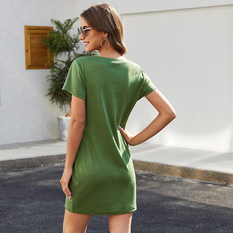 Front Zipper Short Dress