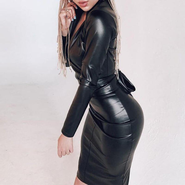 PU Skinny Tie Waist Midi Leather Dress