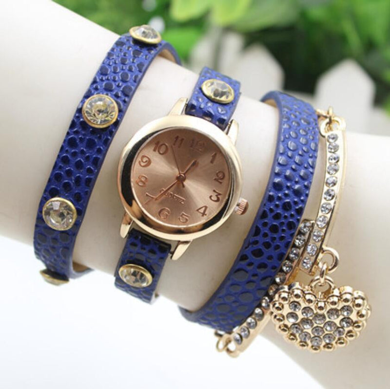 Crystal Heart PU Strap Wristwatch - Oh Yours Fashion - 7