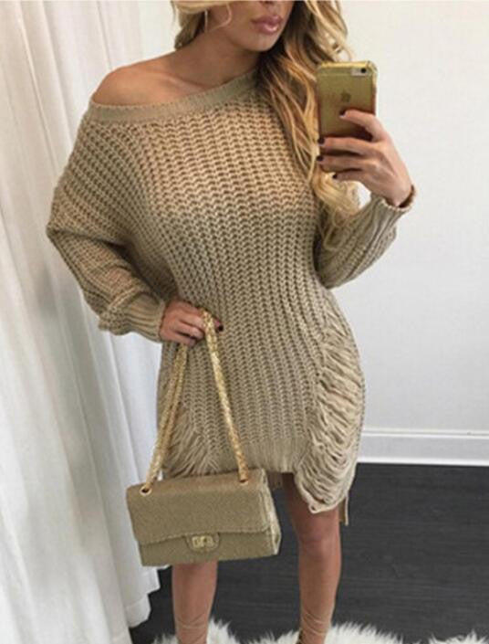 Hollow Out Knitting Irregular Long Sweater Dress - Oh Yours Fashion - 5