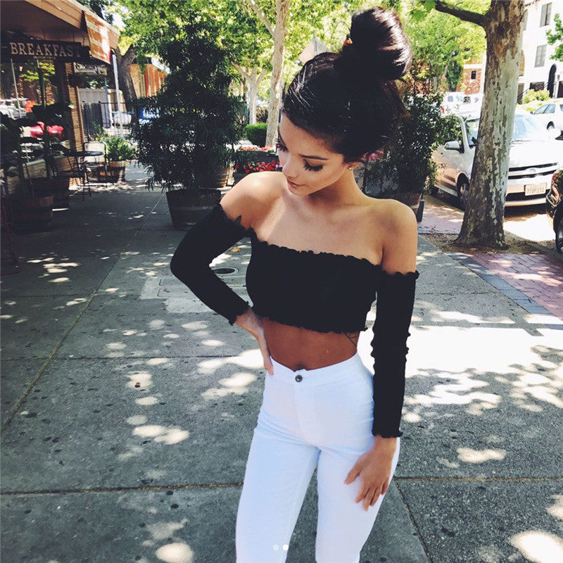 Off Shoulder Knit Wear Long Sleeves Crop Top