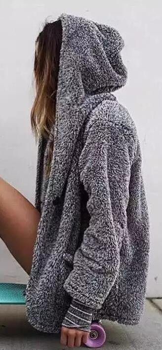 Fashion Hooded Pockets Gray Fur Cardigan - Oh Yours Fashion - 2