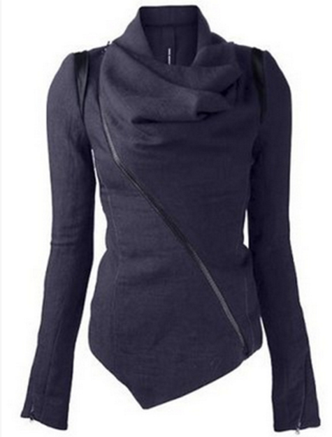 Oblique Zipper Shawl Collar Solid Short Slim Coat - Oh Yours Fashion - 1