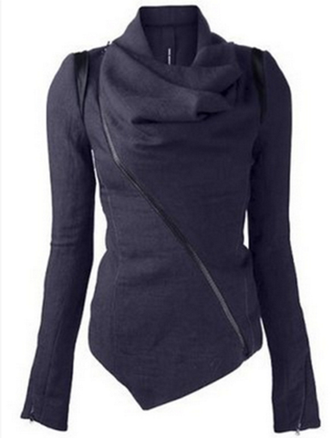 Oblique Zipper Shawl Collar Solid Short Slim Coat