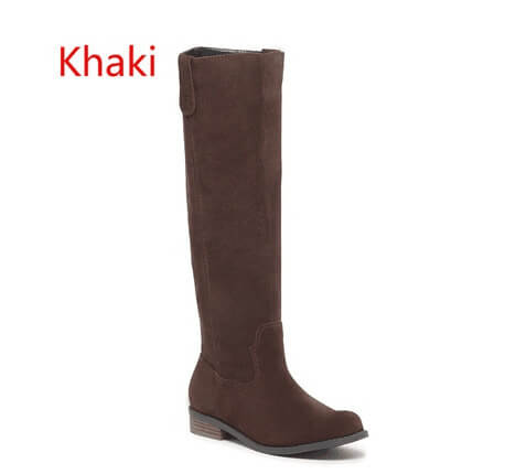 Suede Flat Round Toe Knee High Boots