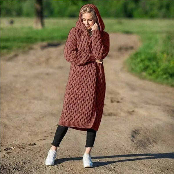 Thick Oversized Hooded Cardigan Coat