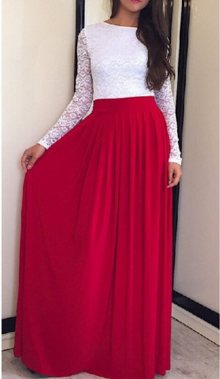 Lace High-waist Long Sleeves Pleated Splicing Long Dress - Oh Yours Fashion - 2