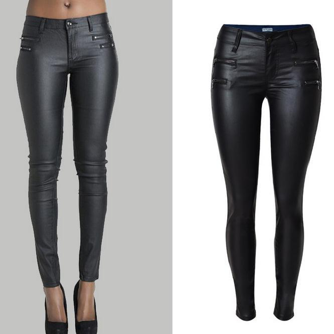 Low Waist Double Zipper Button Slim PU Leather Pants - Meet Yours Fashion - 1