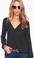 Deep V-neck Long Sleeves Chiffon Plus Size Blouse - Oh Yours Fashion - 2