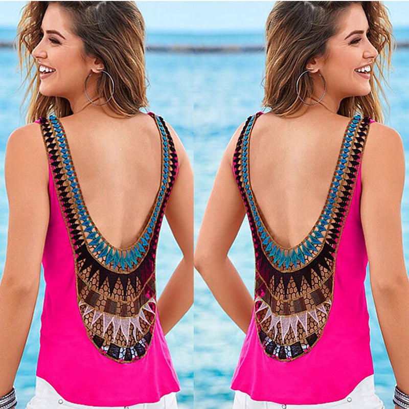 Backless Sleeveless Hollow Out Patchwork Chiffon Blouse - Oh Yours Fashion - 2