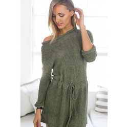 Retro Loose Long Sleeves Solid Color SweatDress - Oh Yours Fashion - 2