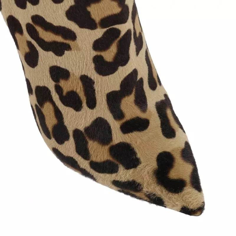 Leopard Leather High Heel Pointed Ankle Boots