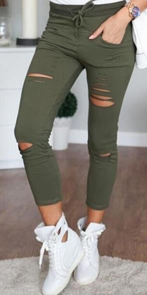 High Waist Ripped Hole Draw String Skinny Elastic 9/10 legging - Oh Yours Fashion - 2