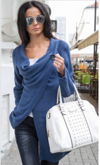 Cardigan Pile Collar Pure Color Irregular Knit Sweater - Oh Yours Fashion - 2