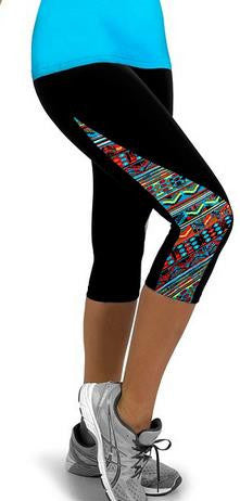 Flower Print Side Triangle Fashion 3/4 Pants Yoga Sport Leggings - Oh Yours Fashion - 1