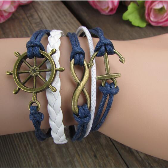 Retro Style Anchor Rudder Multilayer Woven Bracelet - Oh Yours Fashion
