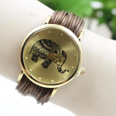 Elephant Print Multilayer Leather Watch - Oh Yours Fashion - 4