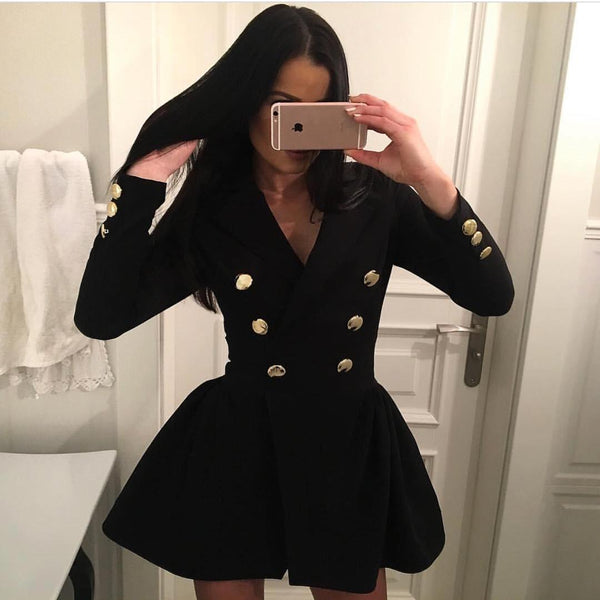Long Sleeve Slim V Neck Blazer Dress