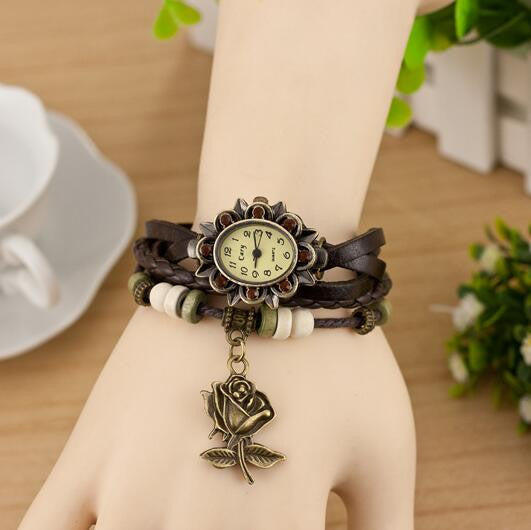 Retro Style Rose Pendant Multilayer Watch - Oh Yours Fashion - 7