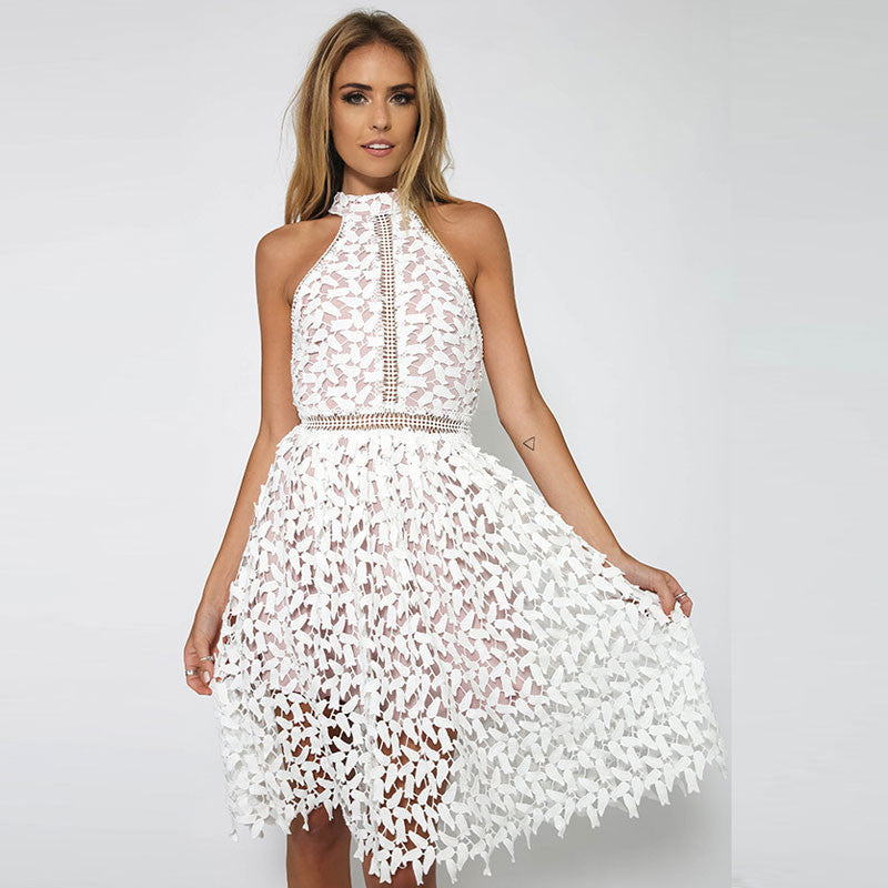 Sexy White Patchwork Lace Sleeveless Dress - Oh Yours Fashion - 1