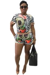 Print Slim T-shirt with Shorts Two Pieces Set