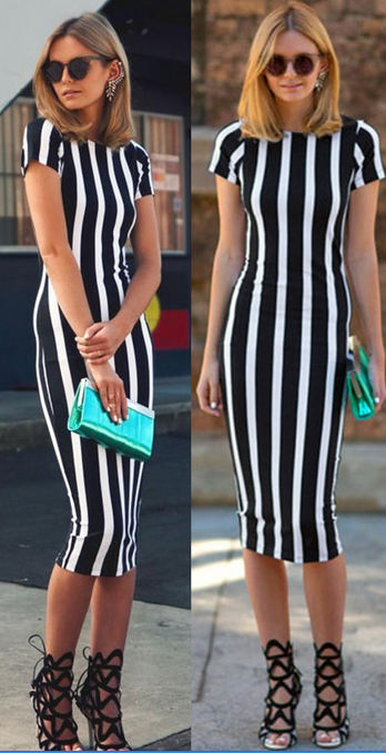 Short Sleeve O-neck Stripe Knee-length Dress - Oh Yours Fashion - 2