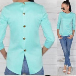 Scoop 3/4 Sleeves Back Button Pure Color Chiffon Blouse - Oh Yours Fashion - 1