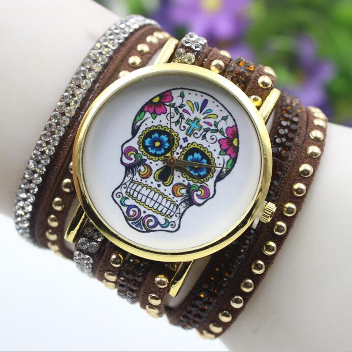 Beautiful Flower Skull Lint Bracelet Watch - Oh Yours Fashion - 7