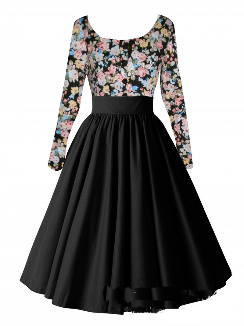 Retro Hepburn Floral Print Patchwork Long Sleeves Dress - Oh Yours Fashion - 7