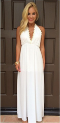 Backless V-neck White Long Chiffon Party Dress - Oh Yours Fashion - 2