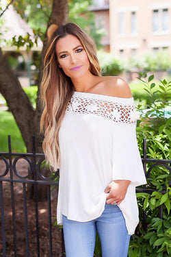 Pure Color Lace Off Shoulder Half Sleeves Blouse