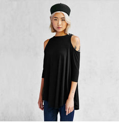 Knitting Off-Shoulder 3/4 Sleeve Long T-Shirt - Oh Yours Fashion - 3