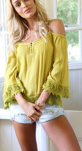 Off-shoulder Pure Color Lace Patchwork Casual Spaghetti Strap Blouse - Oh Yours Fashion - 1