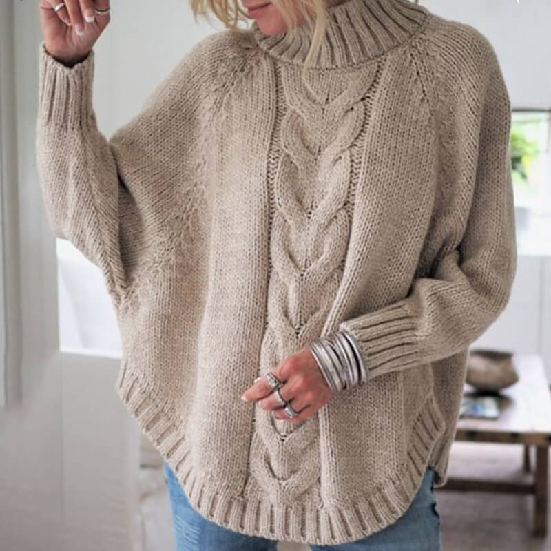 Mock Neck Cable Knitted Batwing Sweater