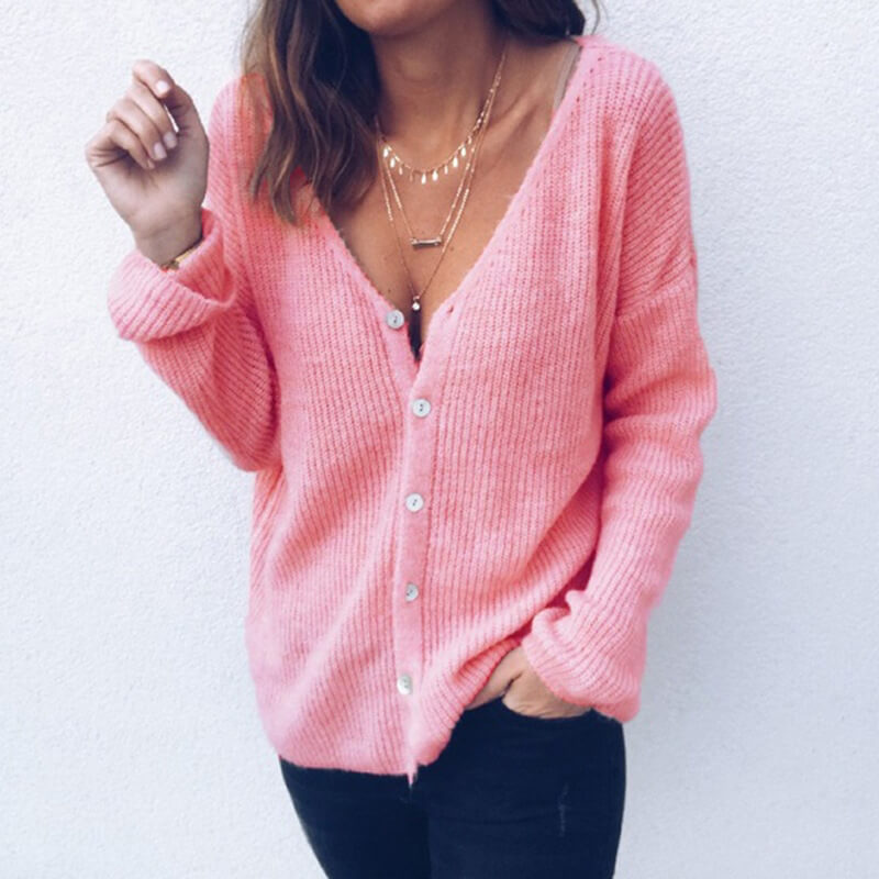 Oversized V Neck Button Up Ribbed Cardigan