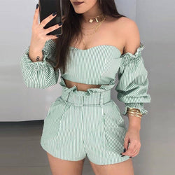 Strapless Crop Top Striped Shorts Set