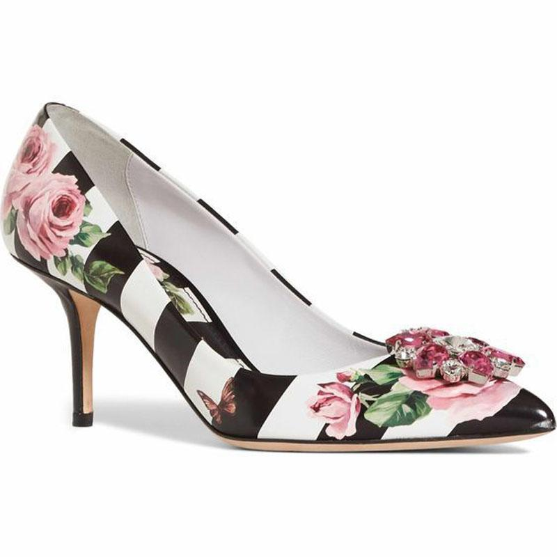 PU Flower Stripes Print Rhinestone Pointed Toe Pumps