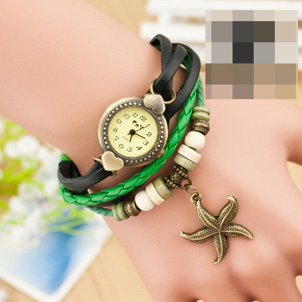 Heart Starfish Woven Bracelet Watch - Oh Yours Fashion - 3