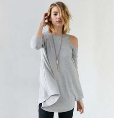 Knitting Off-Shoulder 3/4 Sleeve Long T-Shirt - Oh Yours Fashion - 1