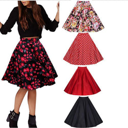 3D Flower Print Flare Ruffled Middle Skirt - Meet Yours Fashion - 3