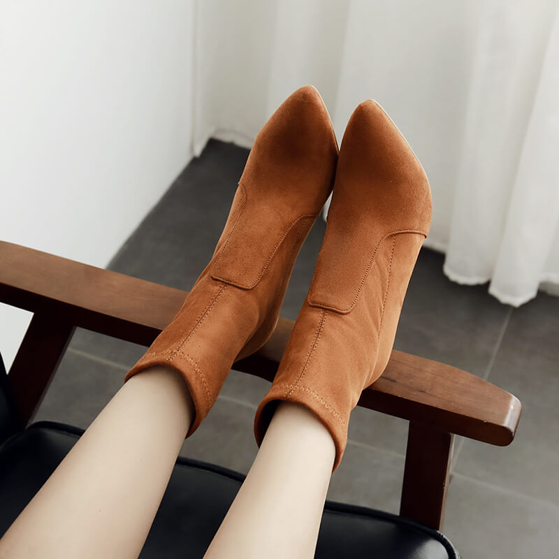 Suede Pointed Toe High Heel Calf Sock Boots